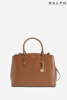 Ralph Lauren Tan Leather Double Zip Handbag