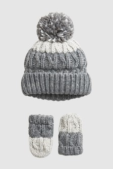 Ombre Hat And Mittens Two Piece Set (Younger)