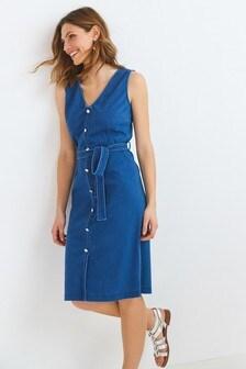 Jersey Denim Belted Button Front Dress