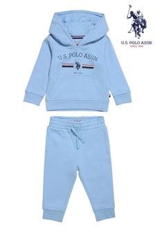 U.S. Polo Assn. Blue Stripe Rider Overhead Hoody And Joggers Set