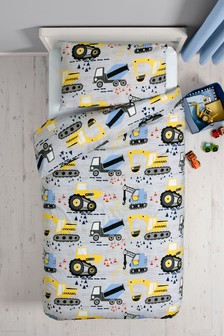 Trucks And Diggers Duvet Cover and Pillowcase Set