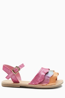Leather Ruffle Sandals (Younger)
