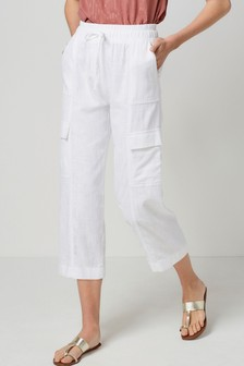 Linen Blend Utility Crop Trousers