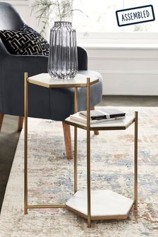 White Marble Hex Side Table