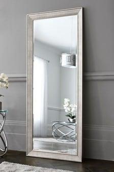 Silver Textured Floor Length Mirror