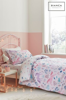 Bianca Pink Woodland Unicorn And Stars Cotton Duvet Cover and Pillowcase Set
