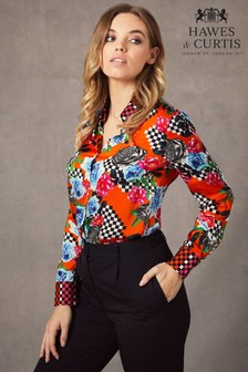 Hawes & Curtis Black Boutique Checkerboard Contrast Shirt