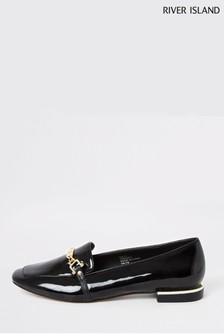 River Island Black Smoke Hardware Detail Ballet Shoes