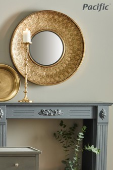 Gold Metal Round Wall Mirror by Pacific
