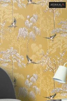 Arthouse Yellow Japanese Garden Floral Wallpaper