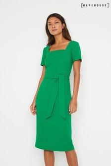 Warehouse Green Square Neck Crepe Dress