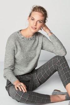 Embellished Neck Sweater