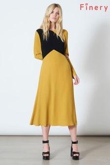 Finery London Gold Gracie Contrast Mustard/Navy Bodice Dress