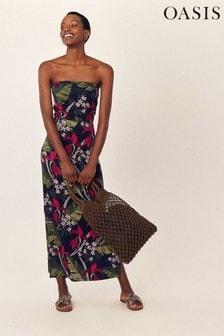 Oasis Blue Bali Bandeau Maxi Dress