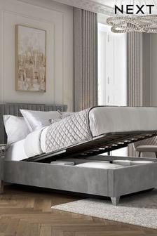 Portia Opulent Velvet Steel Ottoman Storage Bed