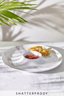Marble Print Melamine Chip And Dip