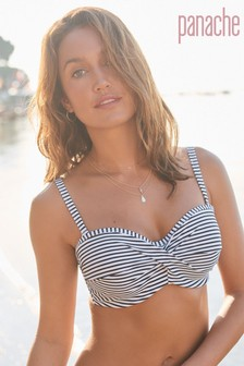 Panache Black/White Stripe Anya Underwired Bandeau Bikini