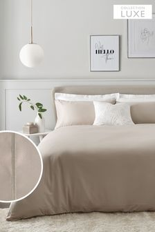 Cloud Natural 300 Thread Count 100% Cotton Sateen Collection Luxe Duvet Cover And Pillowcase Set