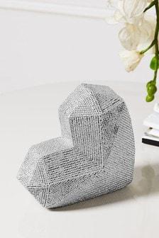 Diamanté Effect Heart Sculpture