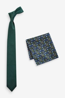 Tie And Floral Pocket Square Set