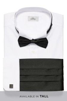 Wing Collared Shirt With Bow Tie, Cummerbund And Cufflinks