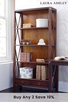 Balmoral Dark Chestnut 2 Drawer Single Bookcase by Laura Ashley