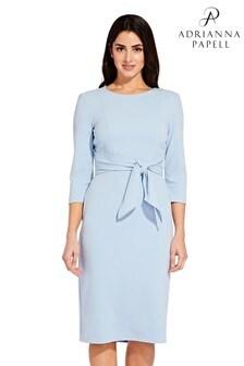 Adrianna Papell Blue Knit Crepe Tie Waist Sheath Dress