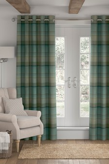 Marlow Woven Check Eyelet Lined Curtains