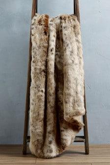 Natural Animal Faux Fur Throw