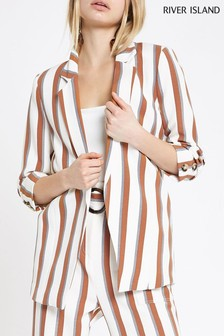 River Island Tan Stripe Soft Blazer
