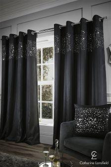 Catherine Lansfield Glitzy Eyelet Curtains