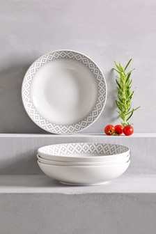 Set of 4 Geo Pasta Bowls