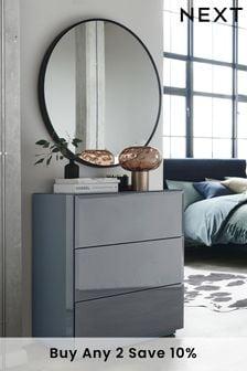 Sloane Glass 3 Drawer Bedside Table