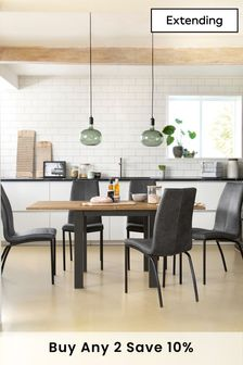 Bronx Oak Effect 4 to 6 Extending Square to Rectangle Dining Table