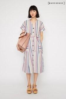 a65df1a1bca Warehouse Multi Stripe Midi Dress