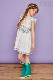 Outside The Lines White Embroidered Dress