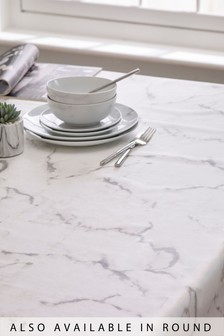 Wipe Clean Marble Tablecloth