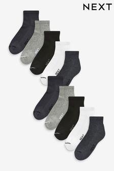Mid Cut Sports Socks Ten Pack