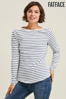 FatFace Blue Organic Cotton Breton T-Shirt