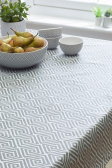 Wipe Clean Grey Geo Tablecloth