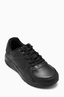 Leather Elastic Lace Trainers (Older)