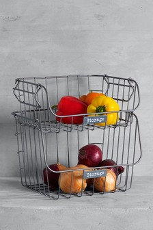 Galvanised 2 Tier Fruit And Veg Holder