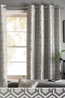 Geo Jacquard Eyelet Lined Curtains