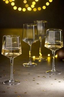 Set of 4 Angular Wine Glasses