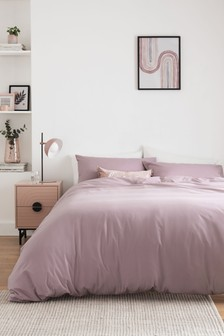 Mauve Purple Cotton Rich Duvet Cover And Pillowcase Set