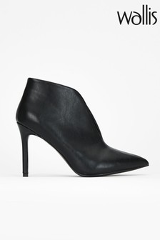 Wallis Black V Throat Point Ankle Boots
