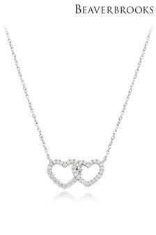 Beaverbrooks Cubic Zirconia Double Heart Necklace