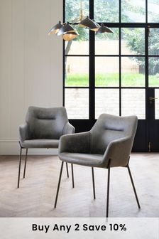 Set Of 2 Quinn Dining Chairs With Black Legs