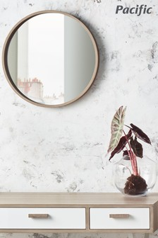 Natural Wood Round Wall Mirror by Pacific