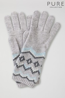Pure Collection Grey Cashmere Lofty Fairisle Pattern Gloves